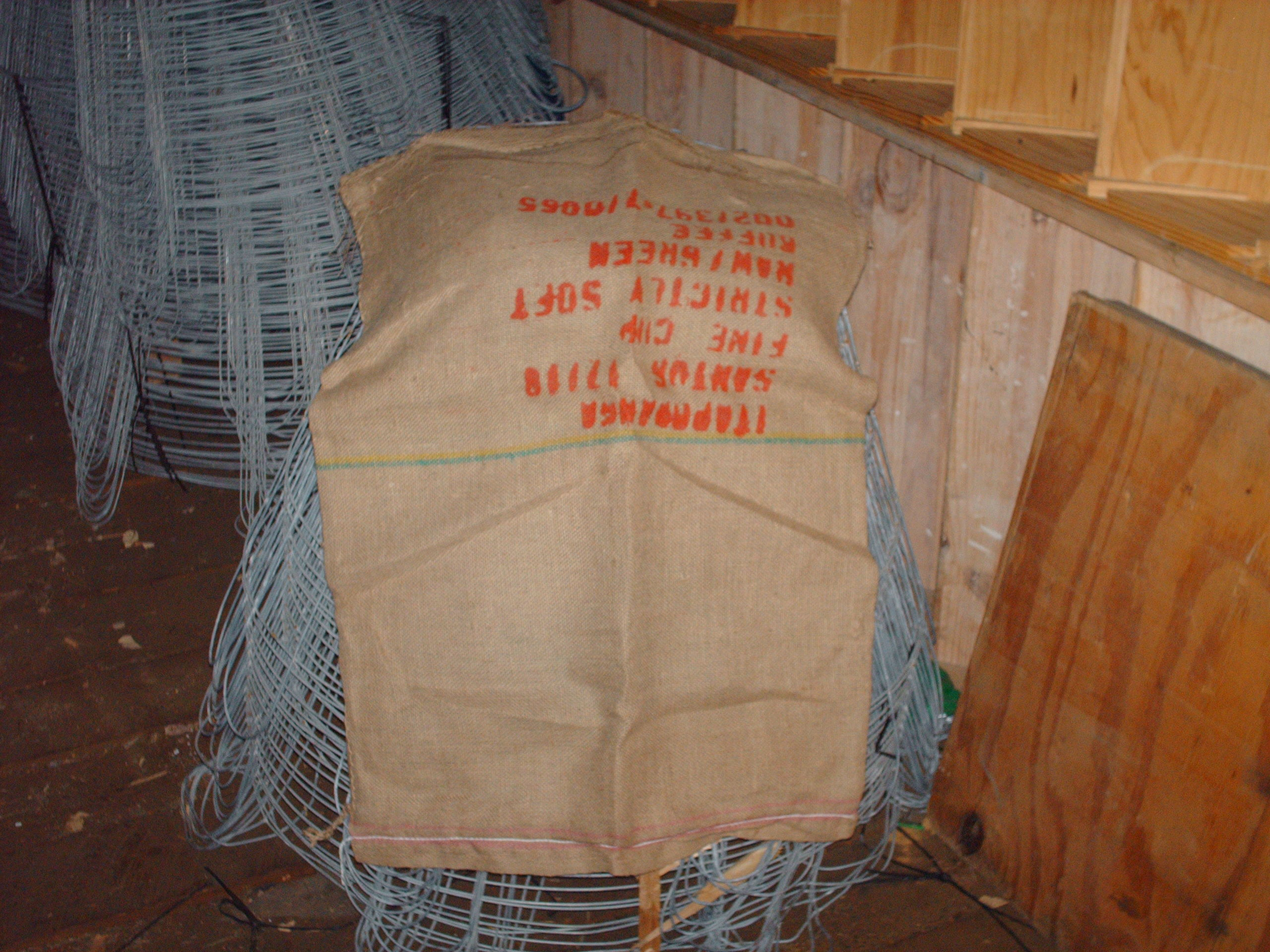 We have used burlap bags.